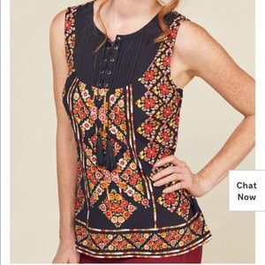 ModCloth sleeveless mosaic top with tassels 3X
